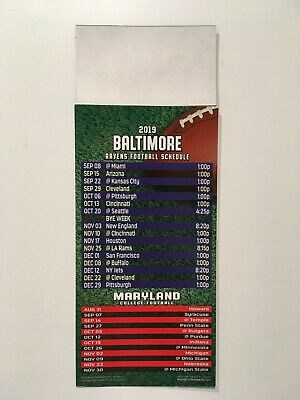 Nfl 2019 Baltimore Ravens Magnet Schedule / Also Ncaa Maryland College - New