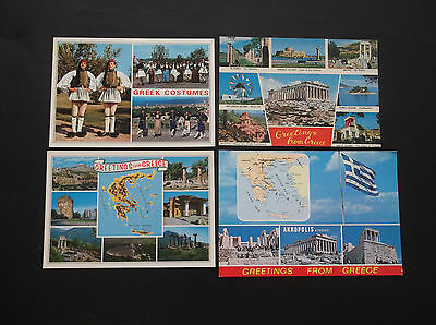 Lot 4 Vintage Postcards Photo Greetings From Greece, Greek Costumes Griechenland
