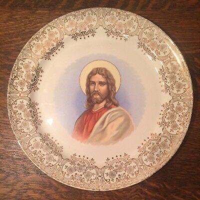 Christ Portrait Plate Taylor Smith Taylor Pearl China 22 KT Gold 10 Inch- Jesus