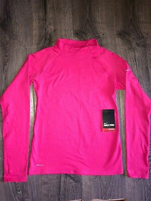 6f462d8e49 NEW Nike Pro Winter Warm Dri Fit Fitted Shirt Size Large Youth Girl's Hot  Pink