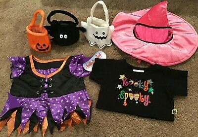 40d0a4a5 Build A Bear Clothes Halloween Lot Of 8 Shirt Witch Wizzard 2 Hats 3 Treat  Bags