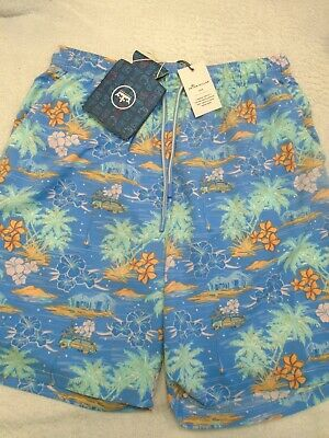 c17821abe9 PETER MILLAR SOLID Striped Pattern Blue Swim Trunks $85 logo'd Drink ...