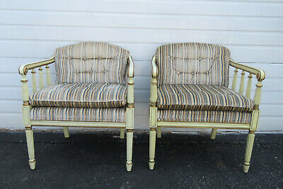 French Carved Painted Pair of Wide Living Bed Room Fireplace Side Chairs 9743