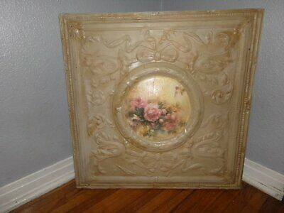 "Large Framed Antique Ceiling Tile 24"" Square Ribbons Bows Center Rose Print"