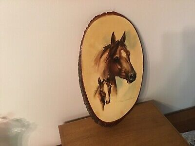 Paul Whitney Hunter Artist Painting on Live Edge Wood of Mare and Colt