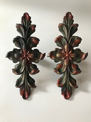 Antique, Cast Iron Curtain / Drapery Accent Holder Floral Design *Clamps To Rod*