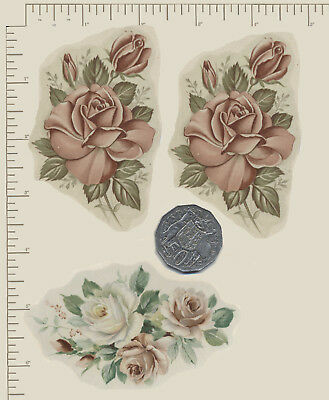 3 x Vintage Ceramic decals Decoupage Roses Pink and white Flowers Floral A08