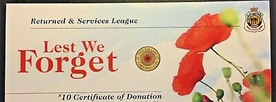 """2012 RSL Certificate Card For $2 Red Poppy ANZAC remembrance Coin """"Card Only"""""""