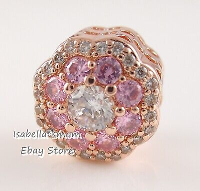 d55248241 PINK SPARKLE FLOWER Authentic PANDORA Rose GOLD Plated Charm 787851NPM NEW  w BOX