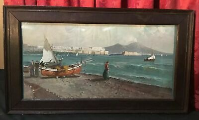 Vintage Antique Nautical Italian Coastal Beach Scene Painting Signed