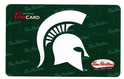 TIM HORTON'S Gift Card 2013 MICHIGAN STATE SPARTANS  (NO BALANCE)  RARE
