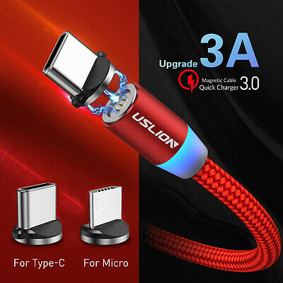 1M Braided Magnetic Charging Cable QC3.0 Fast Data Sync Micro USB Type C Android