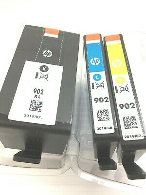 Genuine HP 902XL Black & 902 Color Cartridges Cyan & Yellow - (No Magenta) 3 Lot