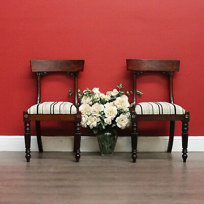 Pair of Antique Chairs English Mahogany Fabric Hall Bed Room Chair Lift Out Seat