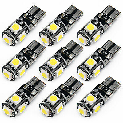 10X T10/W5W 5SMD LED Canbus Error Free Car Side Wedge Light Bulb 6500K 150LM