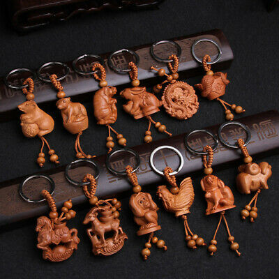 Chinese Zodiac Carving Wooden Pendant Keychain Key Ring Bag Hanging Decor Gift