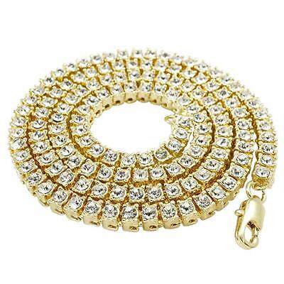 14k Yellow Gold ICED OUT Lab Diamond Mens 1 Row Tennis Chain Hip Hop Necklace