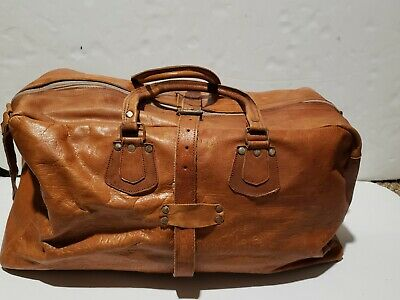 Antique Hand Tooled Leather Duffle Bag Luggage Brown hieroglyphics  carry on