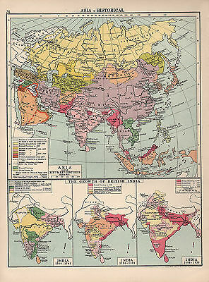 1930 Map ~ Asia Historical ~ Territory Acquisitions ~ Growth Of British India