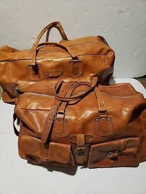 Antique Hand Tooled  hancrafted Leather Duffle Bag Luggage travel set
