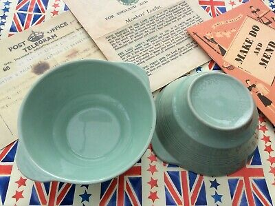1940s Wartime WW2 Wood's Ware Beryl Green Utility Ware ~ 2 x Eared Bowls
