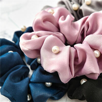 Girls Headband Girls Scrunchies Solid Silk Hair Tie with Pearls Ponytail Holder