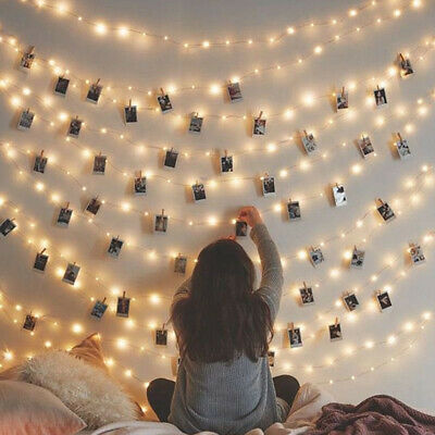 10/20/40 LED Photo Picture Hanging Peg Clips Fairy String Light Party Decor Lamp