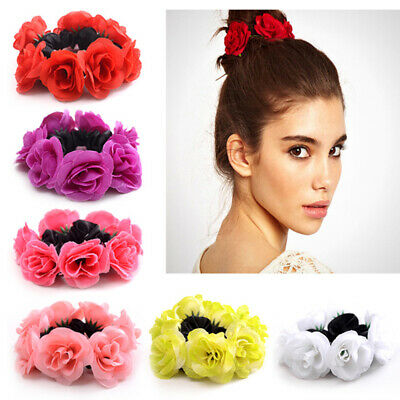 Girls Rose Flower Hair Band Elastic Rubber Hair Ties Three-dimensional Hair Rope