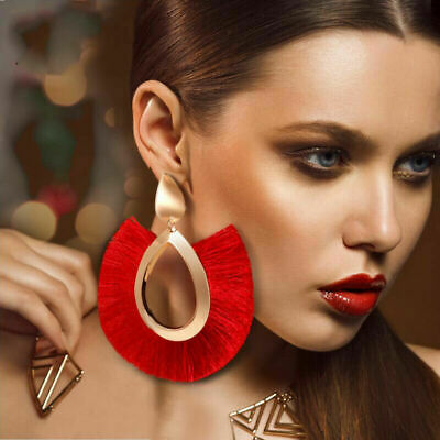 Women Large Bohemian Tassel Fan-Shaped Handmade Fringe Earrings Jewelry