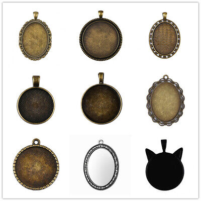 5 Pcs Base Tray DIY Jewellery Vintage Carved Cabochons Setting For Necklace
