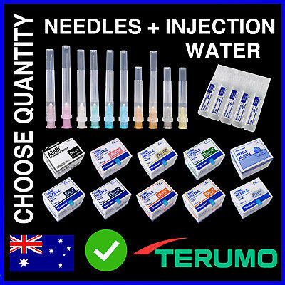 Hypodermic Needles + Injection Water 18G 19G 21G 23G 25G 27G 30G Suits Syringes