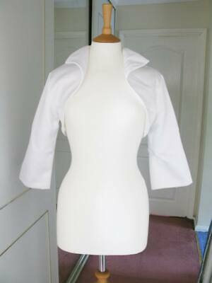 Bridal Satin Shrug Stole Wrap Shawl bolero ¾ Sleeves Collar Jacket Ivory Colour