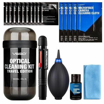 VSGO Camera Cleaning Travel Kit for Camera, Lens, Screen, Mobile Phones, 19pcs