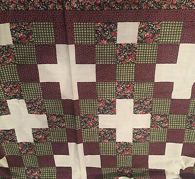 ***ON SALE***King Size Cheater Quilt Top Irish Chain Burgundy 90x 108(3 Yards)