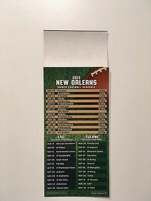 Nfl 2019 New Orleans Saints Magnet Schedule + Lsu Tigers & Tulane Green Wave