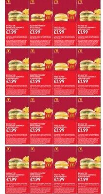 16 x MCDONALDS DEAL VOUCHERS COUPONS - VALID UNTIL 15 September 2019