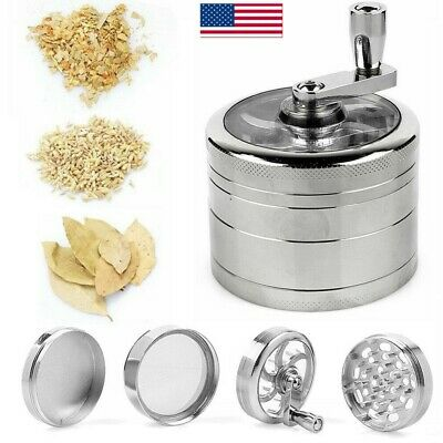 """4 Piece 3"""" Herb Grinder Crusher for Tobacco Zinc Hand Muller Spice With Handle"""