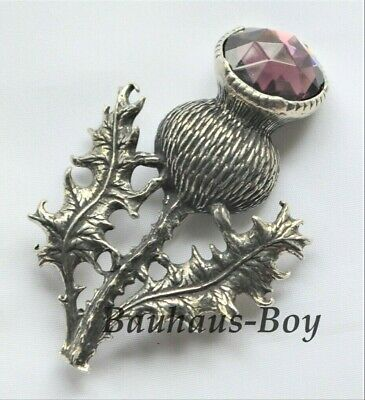 Miracle KILT PLAID BROOCH PEWTER THISTLE FAUX AMETHYST MADE IN THE UK SCOTTISH