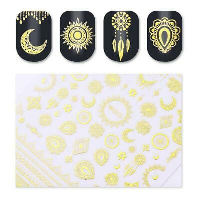 Gold Adhesive Nail Art 3D Stickers Star Moon Lace Gold Decal Manicure Decoration