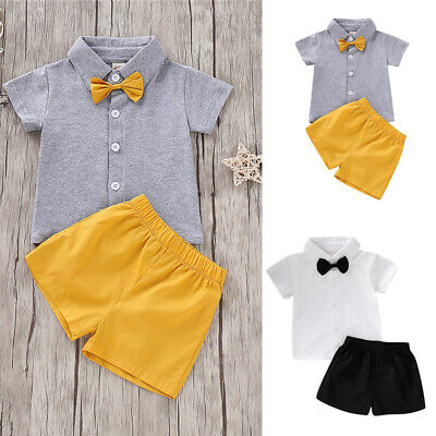 Toddler Baby Boy 2PCS Clothes Short Sleeve Bow Top And Short Pants Party Dress