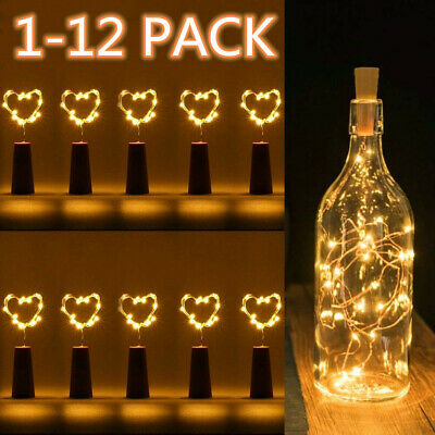 2M 20 LED Wine Bottle String Lights Battery Operated for Bedrooms Party Weddings