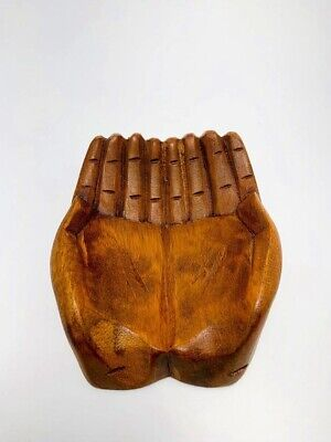 Small Wood Carved Praying Hand Shaped Bowl