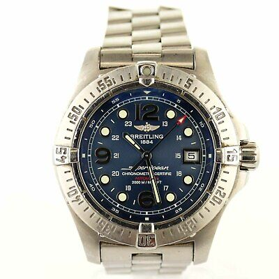 new product ad34c 52553 BREITLING SUPER OCEAN A17390 Blue Dial Auto Chrono Stainless Steel Mens  Watch