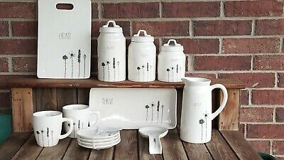 Rae Dunn Stem Line 13 item set new release canister mugs plates tray board NWT