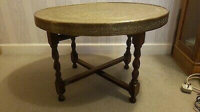 Antique Arabic Coffee Table with Solid Brass Embossed Top and Barley Twist Legs