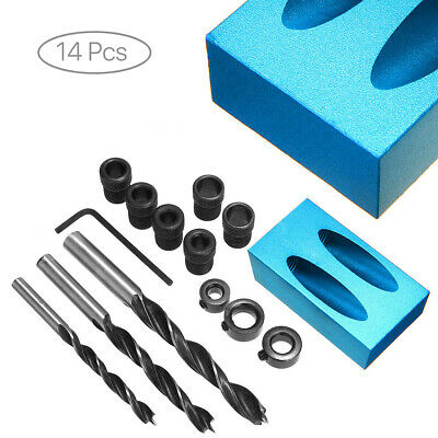 14PCS Pocket Hole Jig Kit Drill Guide Set Hole Puncher Locator for Woodworking