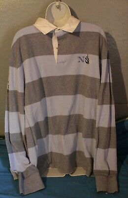7507d221 Vintage Nautica Heritage Rugby Polo Shirt Long Sleeve Blue Striped Sz XXL