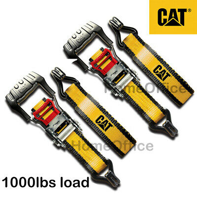 2 x CAT Heavy Duty Ratchet Strap - 1000lbs Load, Tie Down Lashing Rachet