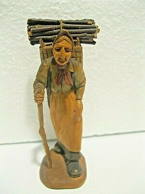Antique German Wood Carved Black Forest Old Woman Carrying Wood Pile