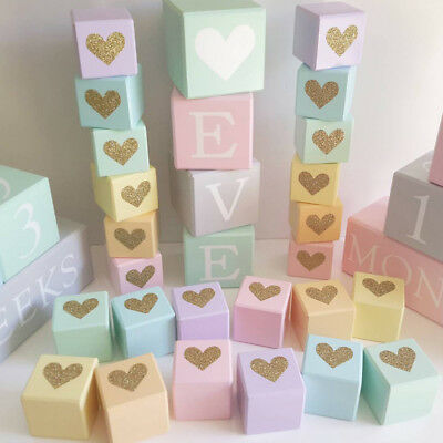 CN/_ NORDIC GLITTER HEART WOODEN CUBE BABY ROOM ORNAMENT HOME DECOR PHOTO PROP
